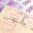 Passport with stamps on a money background — Stock Photo