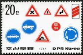 DPR KOREA - 1987: shows road safety — Stock Photo