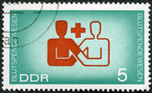 GERMANY - 1966: shows symbolic blood donor and recipient — Stock Photo