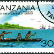 TANZANIA - 1992: shows First meetings, devoted to 500th annivers — Stok fotoğraf