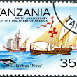 "TANZANIA - 1992: shows Ships of Columbus ""Nina"", devoted to — Stock Photo"