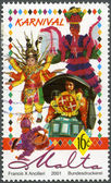 MALTA - 2001: A stamp printed by Malta shows Carnival — 图库照片