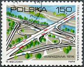 POLAND - 1974: shows Lazienkowska Bridge Road — Foto de Stock