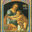 BURUNDI - 1973: shows Virgin and Child by Giovanni Boltraffio, s — Stock Photo