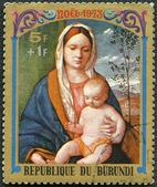 BURUNDI - 1973: shows Virgin and Child by Giovanni Bellini, seri — Stockfoto