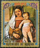 BURUNDI - 1973: shows Virgin and Child by Titian, series Christmas — Stock Photo