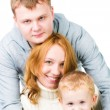 Portrait young family on white — Stock Photo
