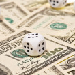 Pair of dice on money - Stock Photo