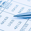 Close up of financial figures and pen — Stock Photo