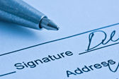 Signature. Close-up of a pen. — Stock Photo