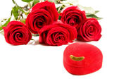 Roses and red box — Stock Photo