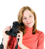 Young girl with photocamera isolated on white — Stock Photo