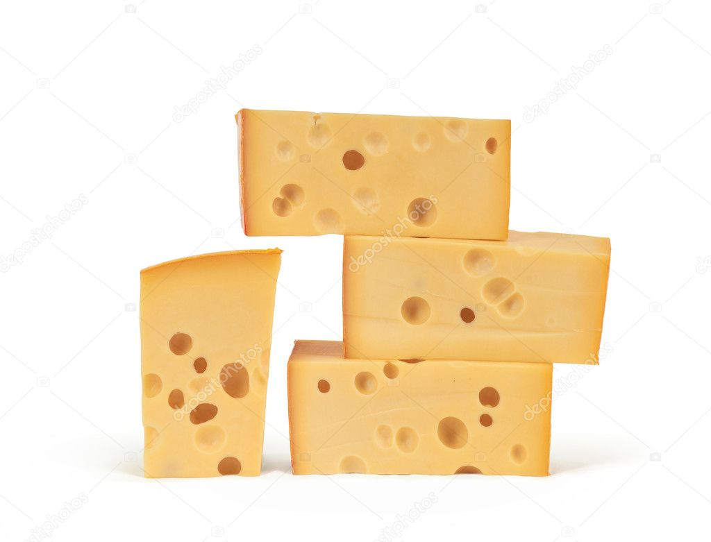 Chunks of cheese on white background. — Stock Photo #9162681