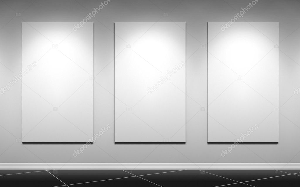 Gallery wall with three blank posters — Stock Photo #9447154