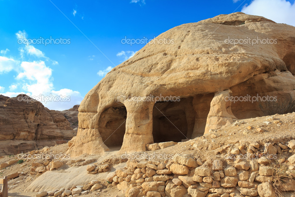 Stone cave home in Bab as-Siq, Petra, Jordan  Stock Photo #10263214