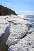 Sea ice broken in the spring, the White Sea, Russia — Stock Photo