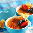 Creme brulee (cream brulee, burnt cream) - Stock Photo