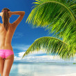 Woman with beautiful body at beach - Stockfoto