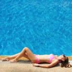 Girl at pool — Stock Photo
