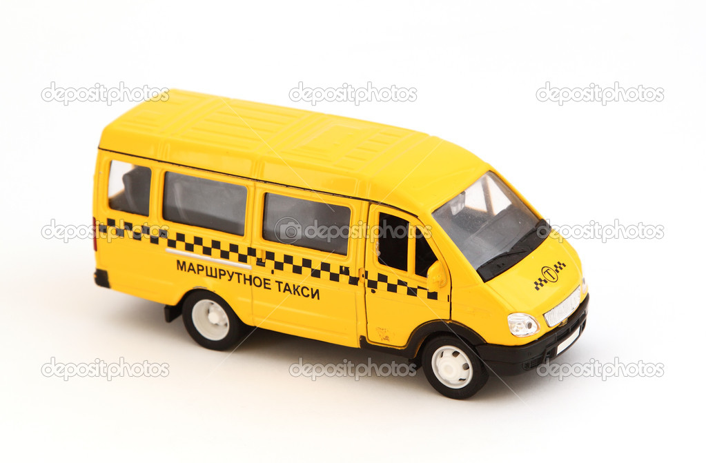 Toy cars. Yellow bus taxi. — Foto Stock #8158451