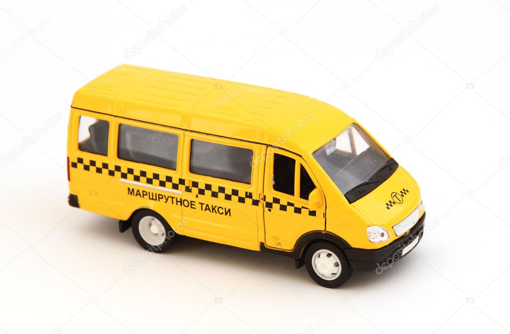 Toy cars. Yellow bus taxi. — Stock Photo #8158451