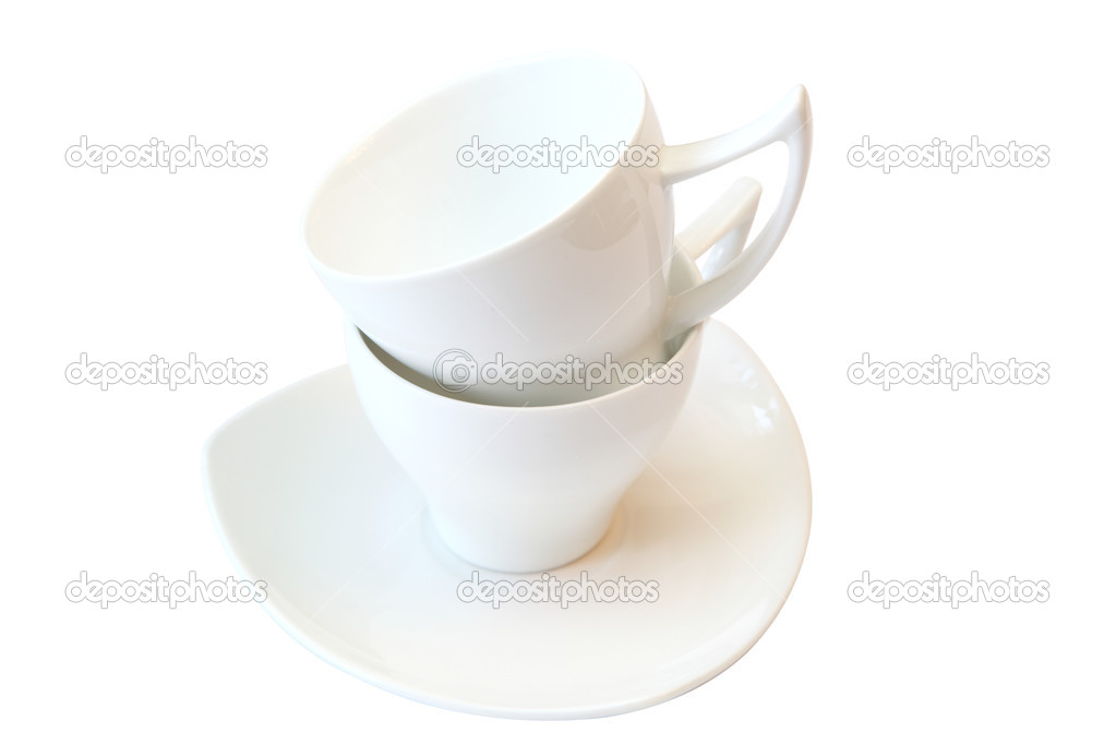 Two white cups, isolated on white background — Stock Photo #8971892
