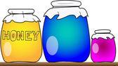 Honey jars — Stock Photo