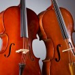 Music Cello in the dark room - Stock Photo