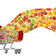 Food products flying out of shopping cart — Stock Photo #10072942