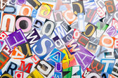 Cut letters from newspapers and magazines — Stock Photo