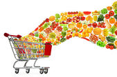 Food products flying out of shopping cart — Stock Photo