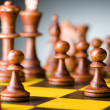 Chess concept with various pieces — Stock Photo
