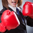 Young businesswomin boxing concept — Foto de stock #10224289