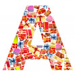 A Letter - Alphabet made of giftboxes — Stock Photo