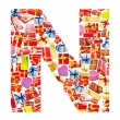 N Letter - Alphabet made of giftboxes — Stock Photo #10225183