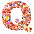 Q Letter - Alphabet made of giftboxes — Stock Photo
