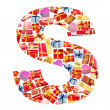 S Letter - Alphabet made of giftboxes — Stockfoto