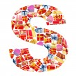 S Letter - Alphabet made of giftboxes — Stock fotografie