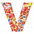V Letter - Alphabet made of giftboxes — Stock Photo #10225431