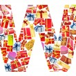 Stock Photo: W Letter - Alphabet made of giftboxes