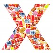 X Letter - Alphabet made of giftboxes — Stock Photo #10225436