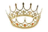 Goldene krone, die isoliert auf der weißen — Stockfoto