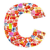 C Letter - Alphabet made of giftboxes — Stock Photo
