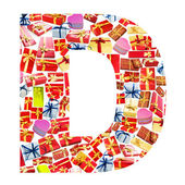D Letter - Alphabet made of giftboxes — Stock Photo