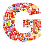 G Letter - Alphabet made of giftboxes — Stock Photo