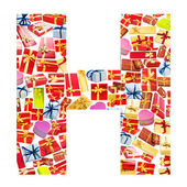 H Letter - Alphabet made of giftboxes — Stock Photo