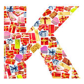 K Letter - Alphabet made of giftboxes — Stock Photo