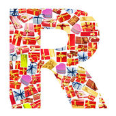 R Letter - Alphabet made of giftboxes — Stock Photo