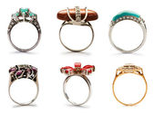 Set of jewellery rings on white — Stok fotoğraf