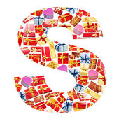 S Letter - Alphabet made of giftboxes — Stock Photo